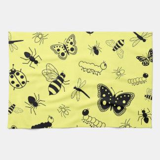Cute Vector Bugs & Butterflies (Lemon Yellow Back) Towel
