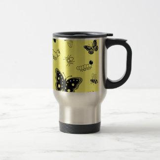 Cute Vector Bugs & Butterflies (Lemon Yellow Back) Travel Mug