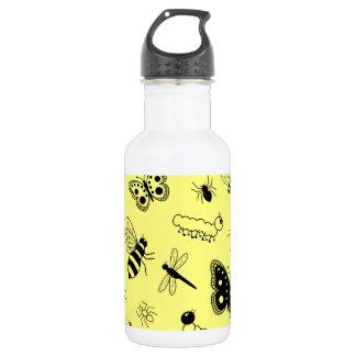 Cute Vector Bugs & Butterflies (Lemon Yellow Back) Water Bottle