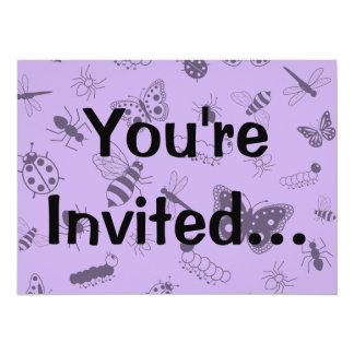 Cute Vector Bugs & Butterflies (Lilac Purple Back) Card
