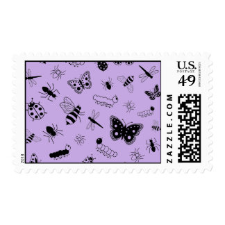 Cute Vector Bugs & Butterflies (Lilac Purple Back) Postage