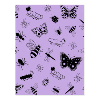 Cute Vector Bugs & Butterflies (Lilac Purple Back) Postcard