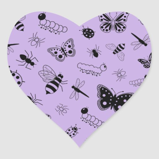 Cute Vector Bugs & Butterflies (Lilac Purple Back) Sticker