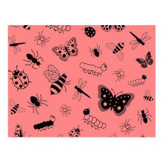 Cute Vector Bugs & Butterflies (Poppy Red Back) Postcard