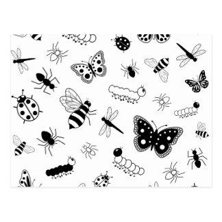 Cute Vector Bugs & Butterflies Postcard