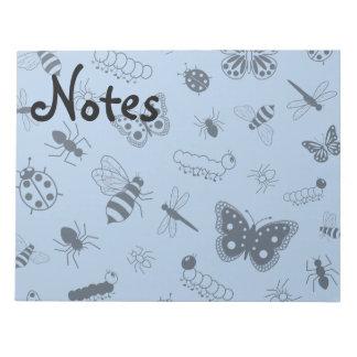 Cute Vector Bugs & Butterflies (Sky Blue Back) Note Pad