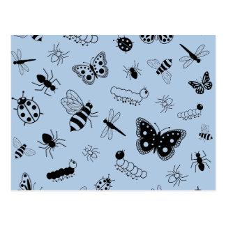 Cute Vector Bugs & Butterflies (Sky Blue Back) Postcards