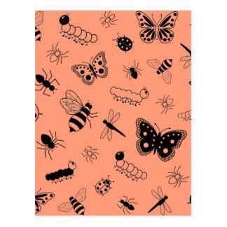 Cute Vector Bugs & Butterflies (Tangerine Orange) Postcard