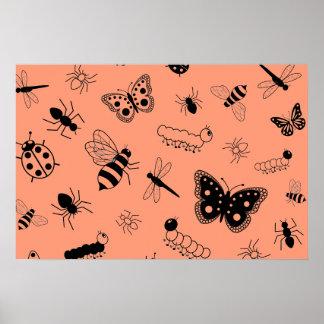 Cute Vector Bugs & Butterflies (Tangerine Orange) Poster