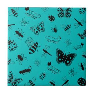 Cute Vector Bugs & Butterflies (Teal Background) Ceramic Tile