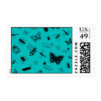 Cute Vector Bugs & Butterflies (Teal Background) Postage