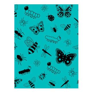 Cute Vector Bugs & Butterflies (Teal Background) Postcard