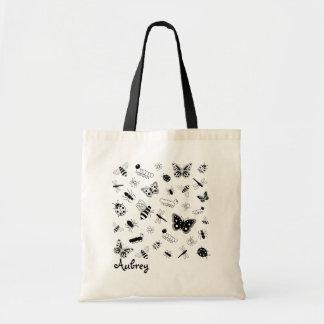 Cute Vector Bugs & Butterflies Tote Bag