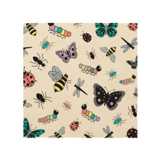 Cute Vector Bugs & Butterflies Wood Prints