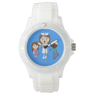 Cute Vector Cartoon Brown Hair Nurse and Children Wrist Watch