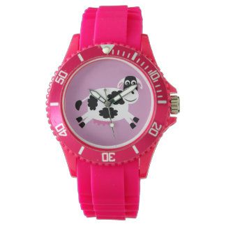 Cute Vector Cartoon Cow Pink Watches