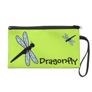 Cute Vector Dragonfly Green Background Wristlet Purses