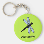 Cute Vector Dragonfly (Green Background) Key Chain