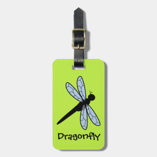 Cute Vector Dragonfly (Green Background) Luggage Tags
