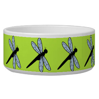 Cute Vector Dragonfly (Green Background) Pet Food Bowl