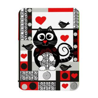 Cute vector magnet with cat, hearts and birds