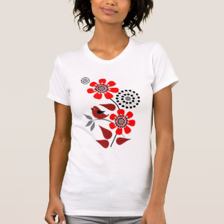 Cute vector T-shirt Red flowers and Bird