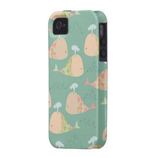 Cute Vector Whales Iphone 4 Case Mate Cover
