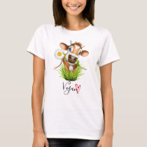 Cute Vegan Cow Farm Animal Flower Heart T-Shirt
