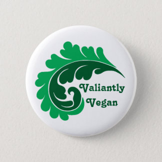 Cute vegan damask leaf motif pinback button