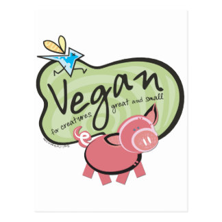 Cute Vegan Message Postcard