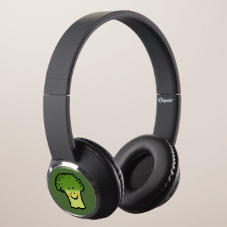 cute veggie broccoli cartoon headphones