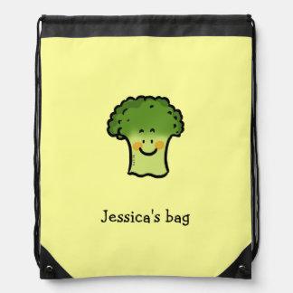 cute veggie broccoli cartoon - just add name drawstring bag