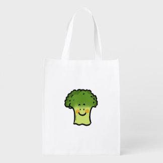 cute veggie broccoli reusable grocery bag