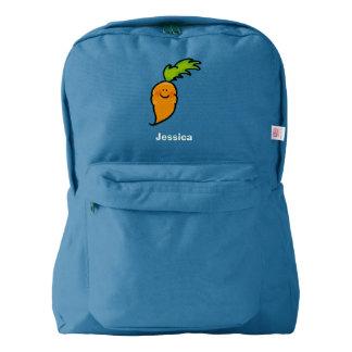 cute veggie carrot cartoon american apparel™ backpack