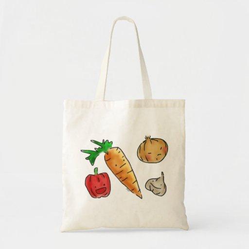 Cute Veggies Reusable Grocery Tote Bag