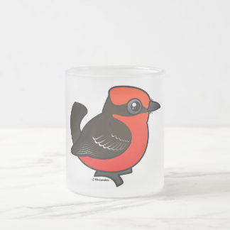 Cute Vermilion Flycatcher Frosted Glass Coffee Mug