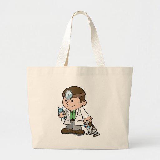 cute vet mascot character canvas bags