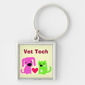 Cute Vet Tech Dog & Cat & Heart Silver-Colored Square Keychain