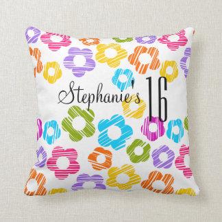 Cute vibrant flowers Sweet Sixteen Pillow