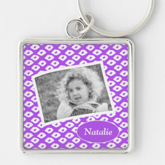 Cute Vibrant Purple Ocelot Pattern Custom Photo Silver-Colored Square Keychain