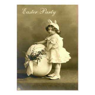 Cute Victorian Bunny Girl & Egg Easter Party Card