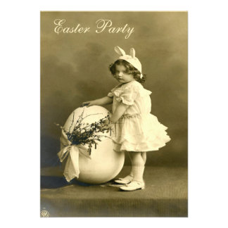 Cute Victorian Bunny Girl Egg Easter Party Invitation