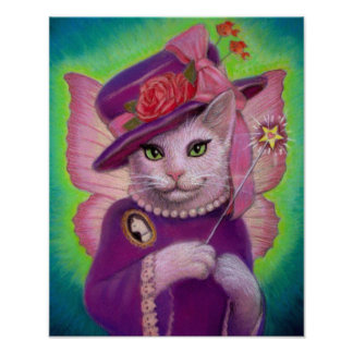 Cute Victorian Cat Fairy Art Poster Print