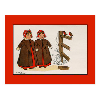 Cute Victorian children, robins, snow, winter Postcard