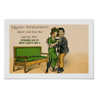 "Cute Victorian couple in love 12"" x 8"" Poster"