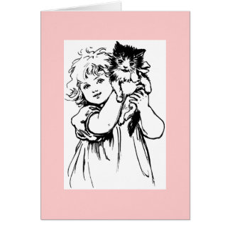 Cute Victorian Drawing of Girl with Cat Stationery Note Card