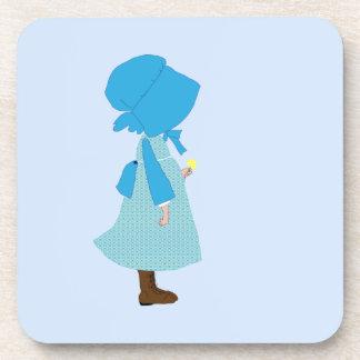 Cute victorian girl child blue coaster
