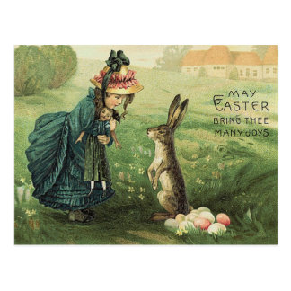 Cute Victorian Girl Doll Easter Bunny Postcard