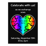 Cute victorian rainbow heart wedding 5x7 paper invitation card