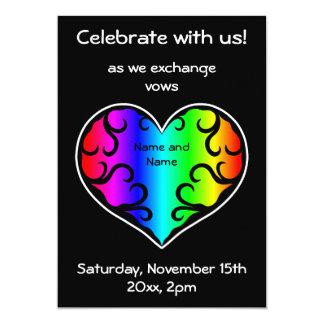 Cute victorian rainbow heart wedding personalized invite